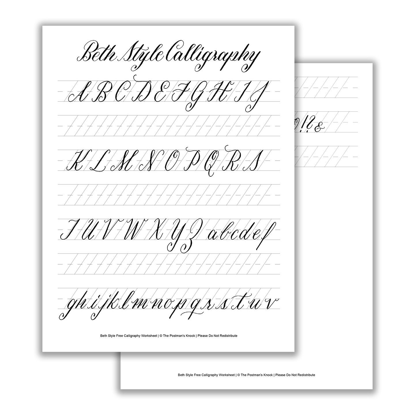 Learn Calligraphy Worksheets Printable Calligraphy Exemplar Beth Style