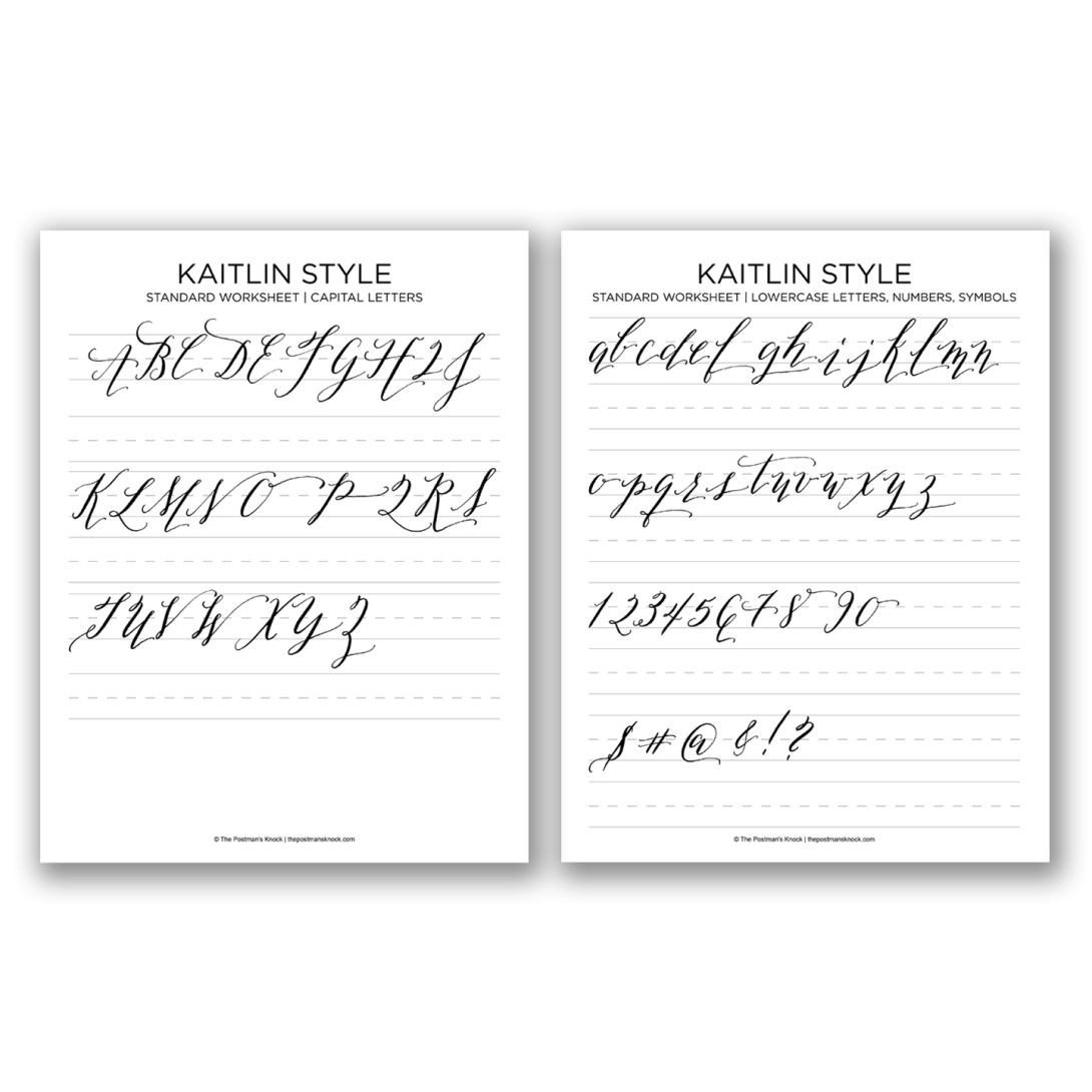 Learn Calligraphy Worksheets Printable Calligraphy Exemplar Kaitlin Style – the