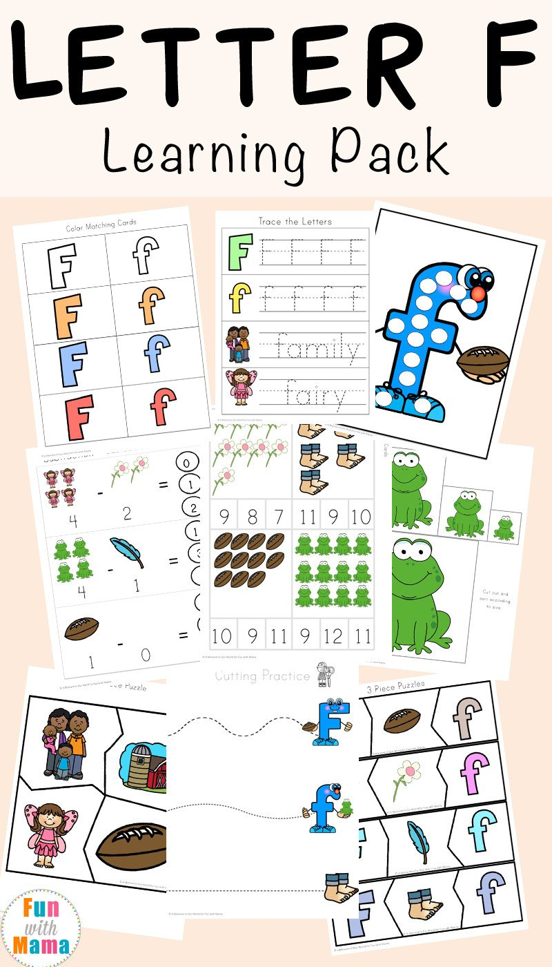 Letter F Worksheets for toddlers Free Letter F Worksheets Fun with Mama