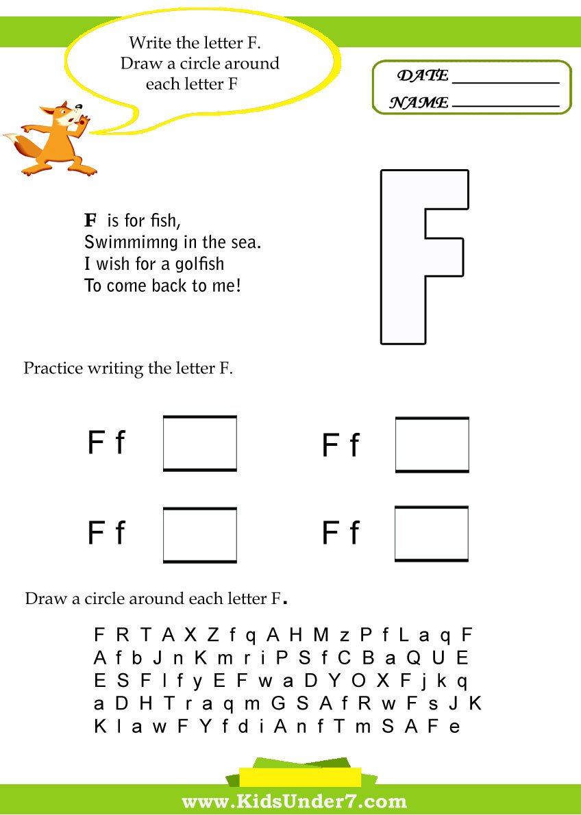 Letter F Worksheets for toddlers Kids Under 7 Letter F Worksheets