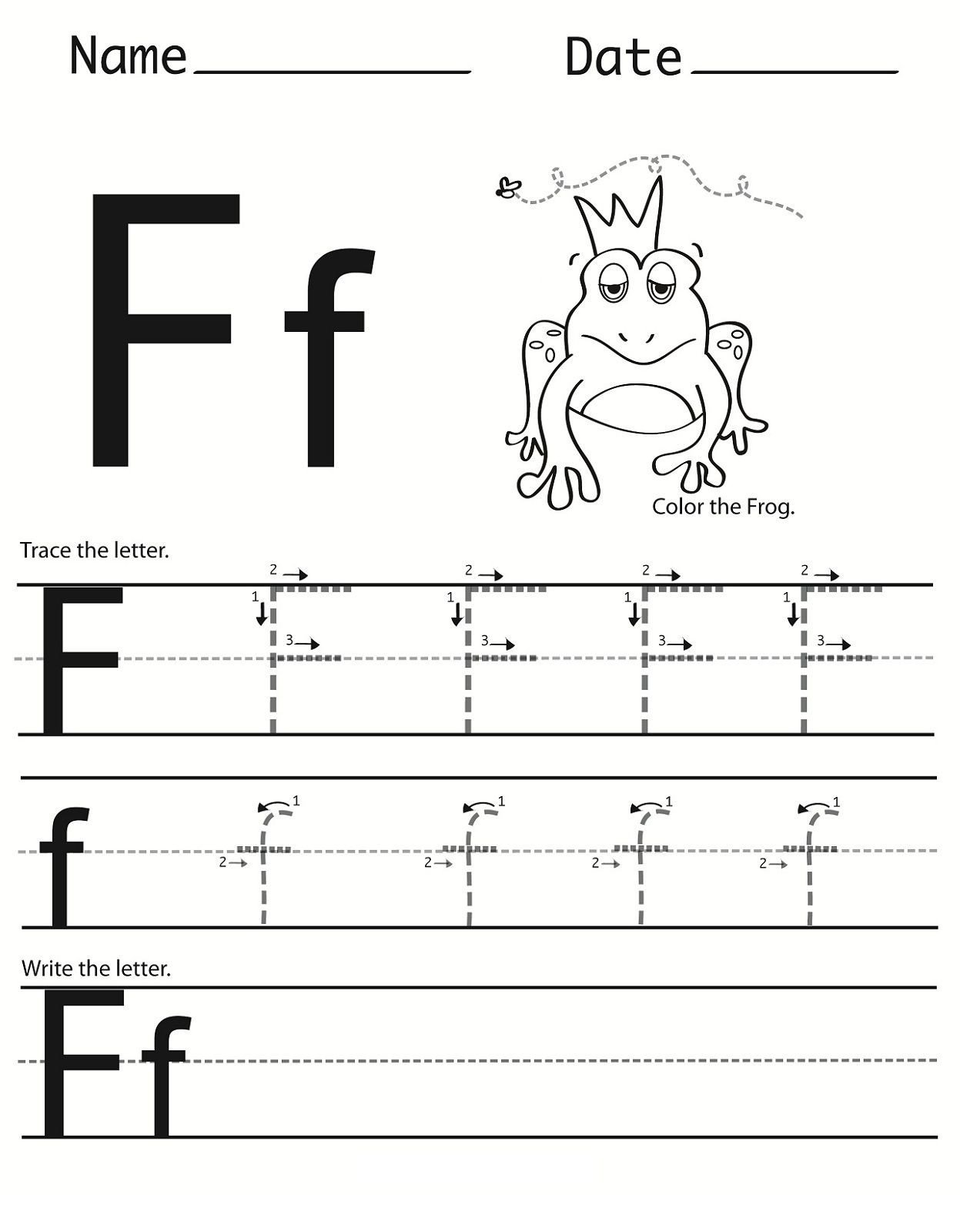 Letter F Worksheets for toddlers Letter F Worksheet for Preschool and Kindergarten