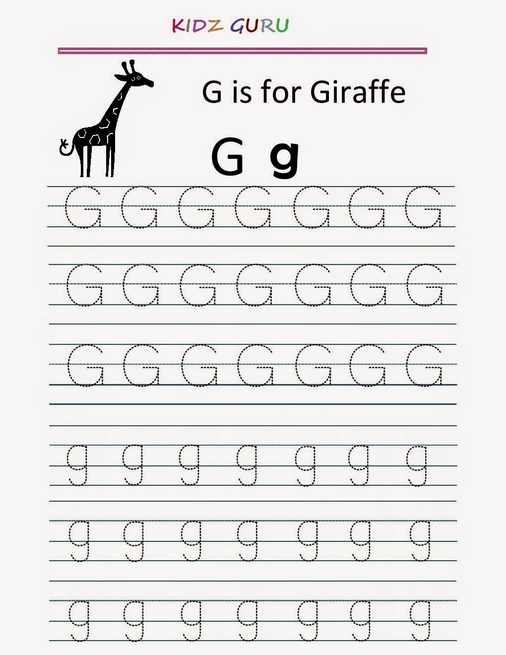 Letter G Handwriting Worksheet