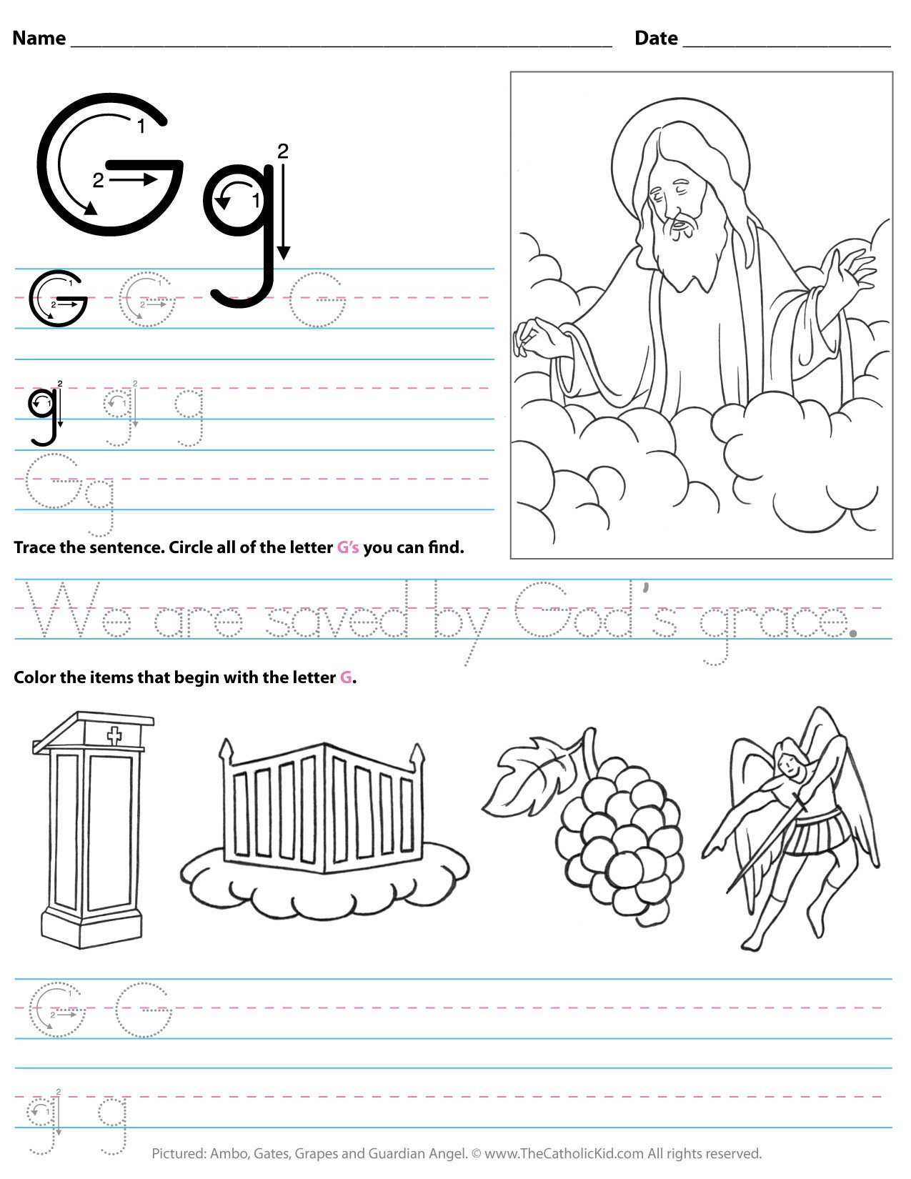 catholic alphabet letter g worksheet preschool kindergarten cnt mls