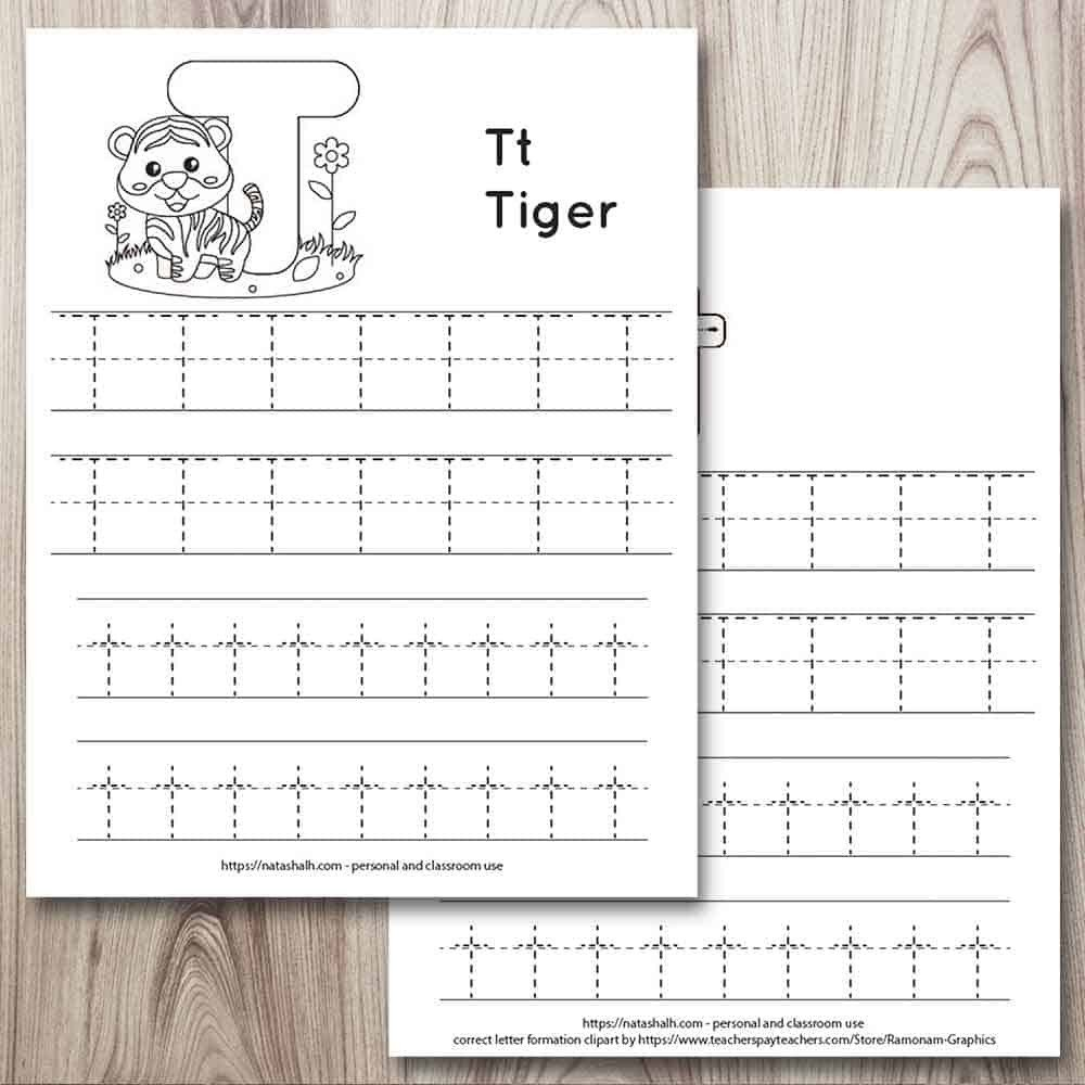 letter t trace worksheets