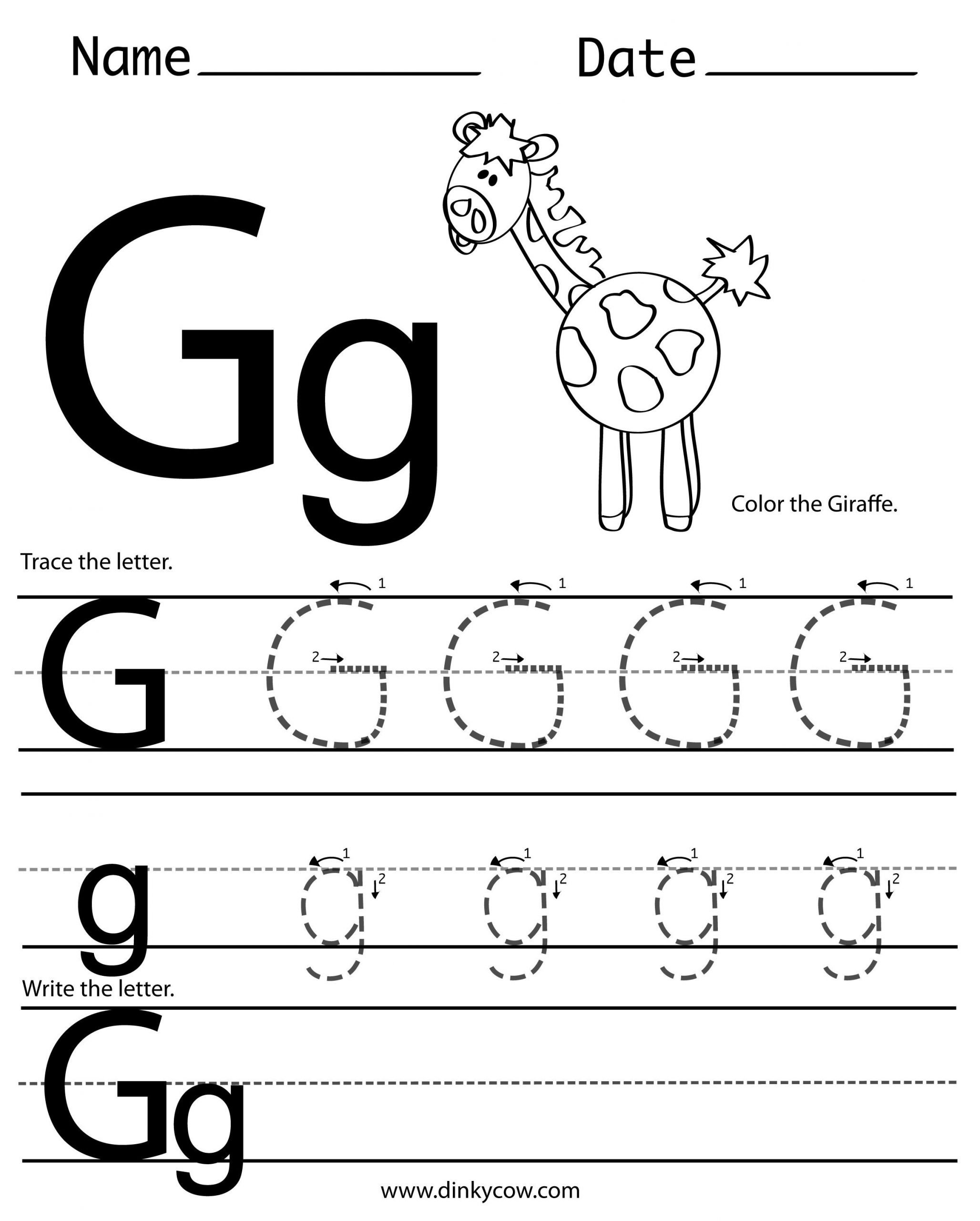 Letter G Tracing Worksheets Preschool Handwriting Worksheet G