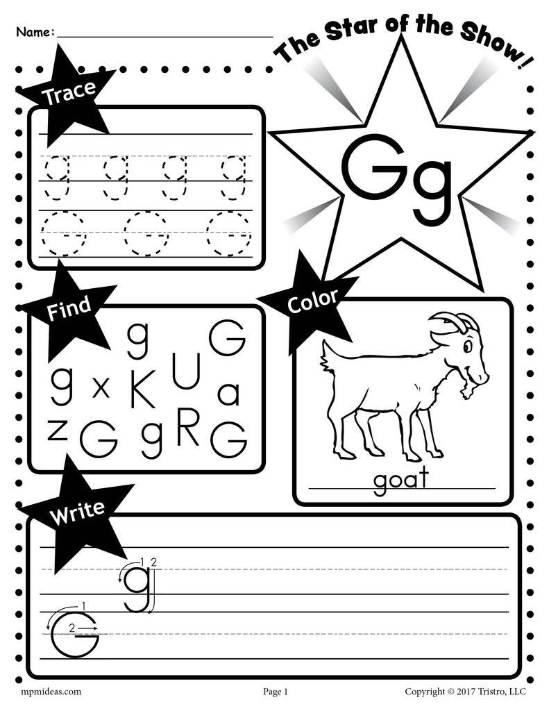 Letter G Tracing Worksheets Preschool Letter G Worksheet Tracing Coloring Writing & More