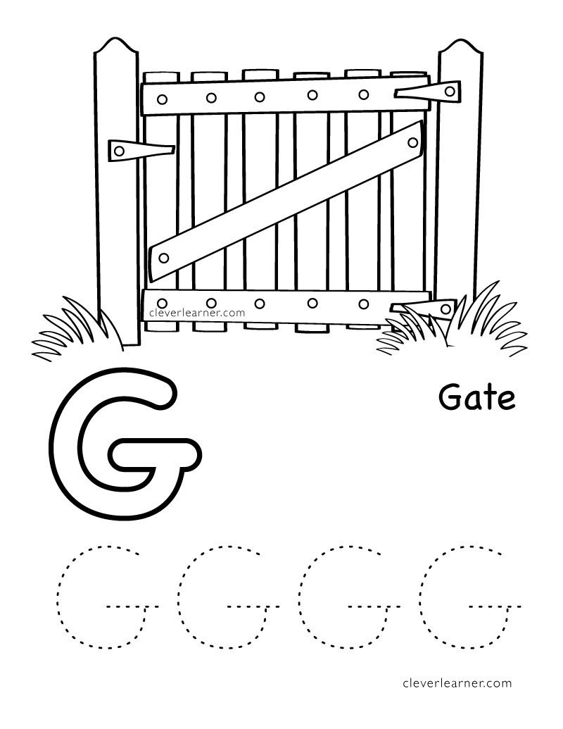 g is for gate letter G worksheet preschool