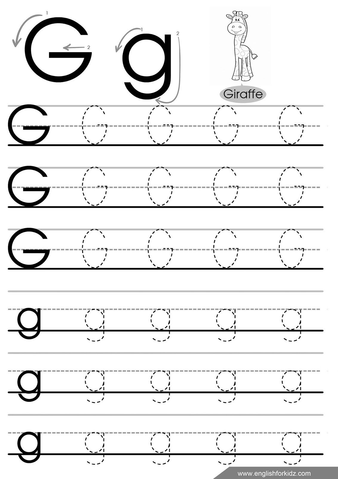 Letter G Tracing Worksheets Preschool Letter Tracing Worksheets Letters A J
