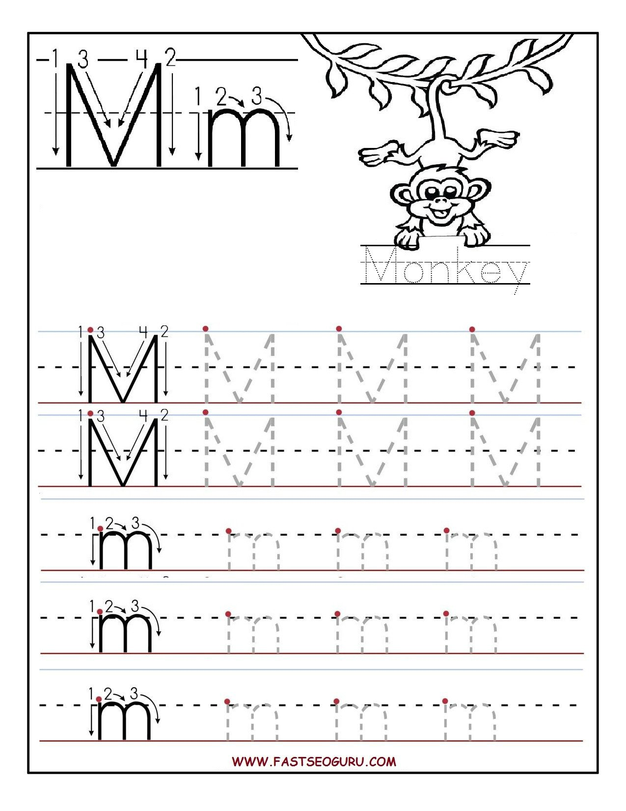 Letter G Tracing Worksheets Preschool Printable Letter M Tracing Worksheets for Preschool