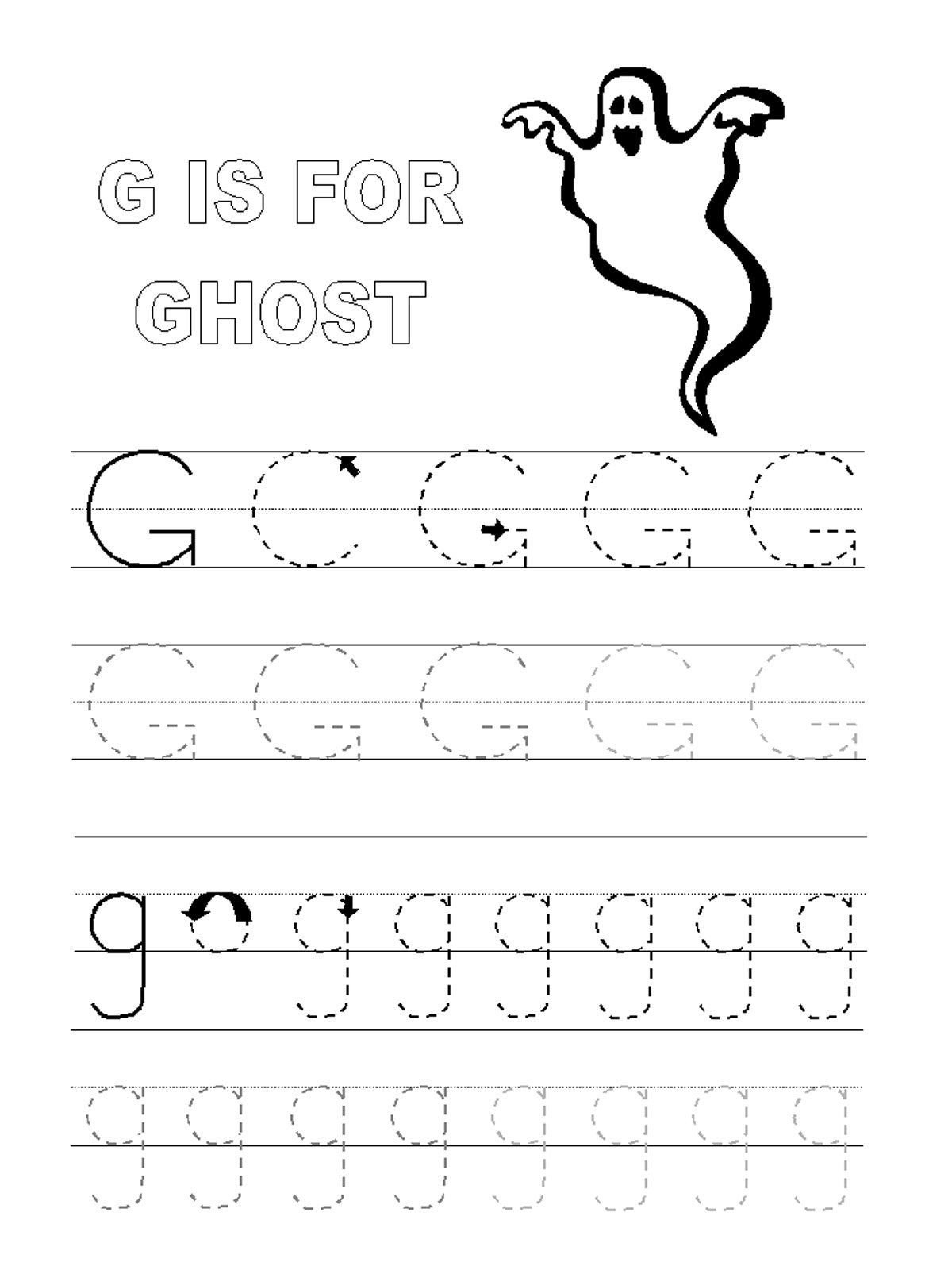Letter G Tracing Worksheets Preschool Trace Letter G Worksheets In 2020