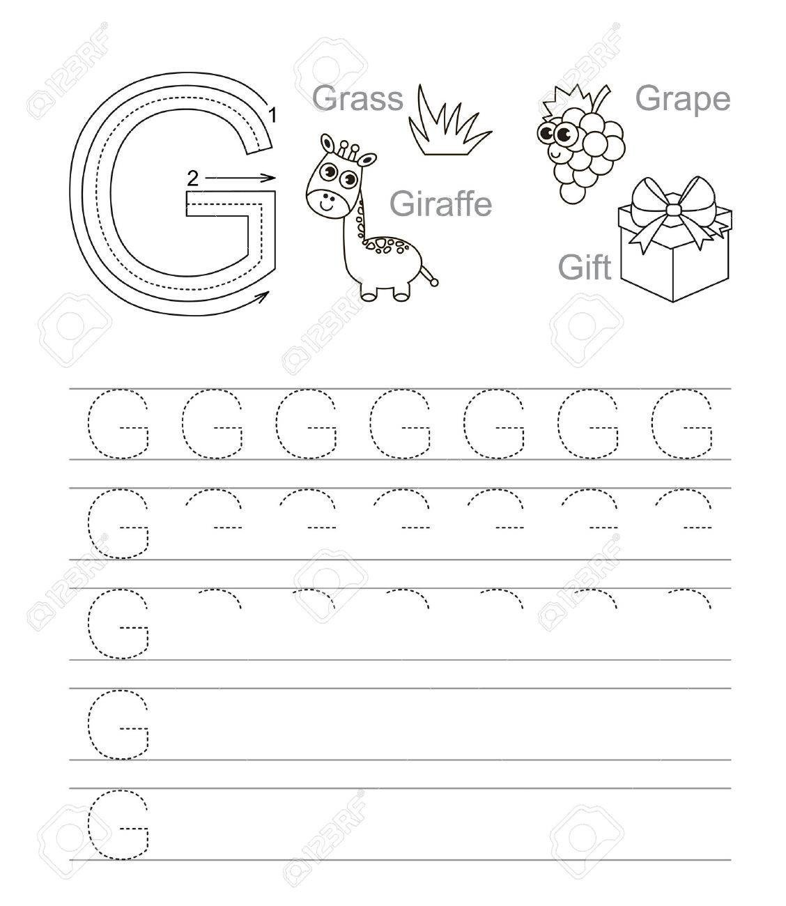 Letter G Tracing Worksheets Preschool Vector Exercise Illustrated Alphabet Learn Handwriting Tracing