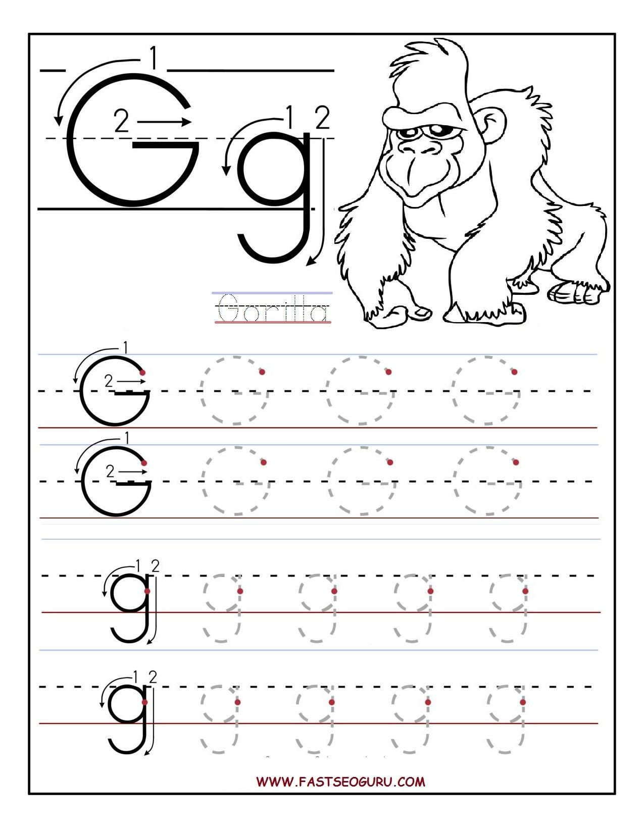 Letter G Tracing Worksheets Preschool Worksheets for Preschoolers