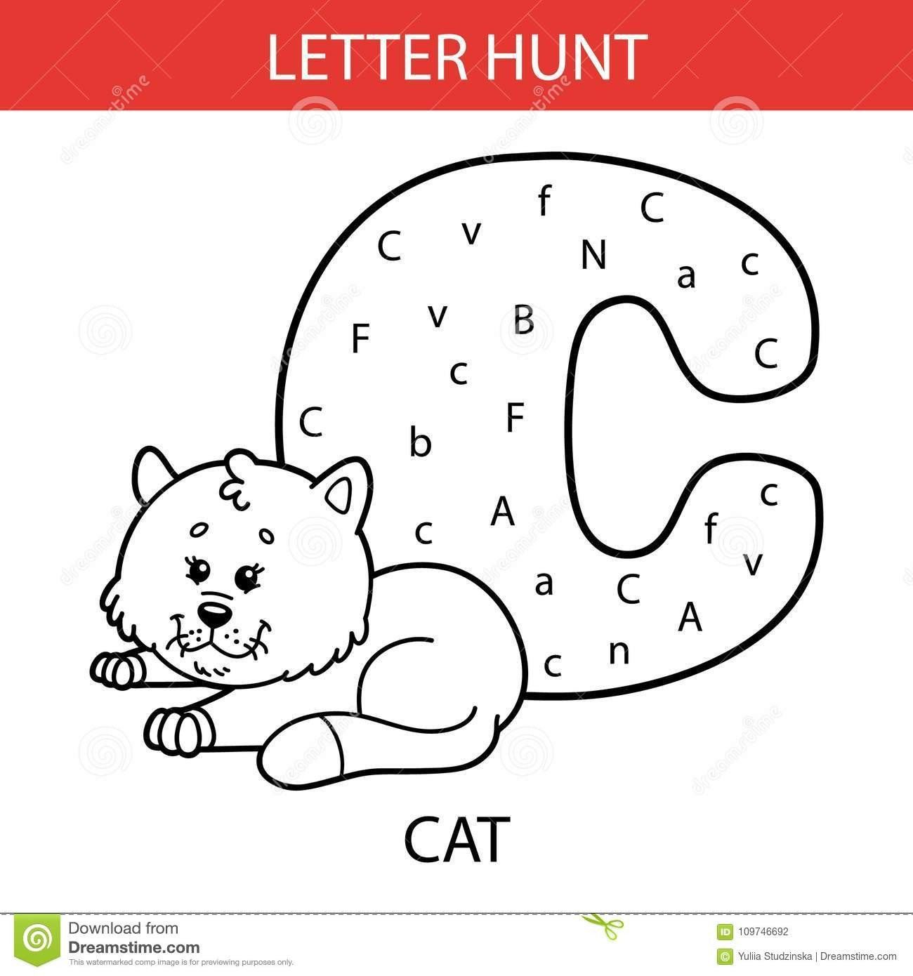 Letter Hunt Worksheet Animal Letter Hunt Cat Stock Vector Illustration Of Hunt
