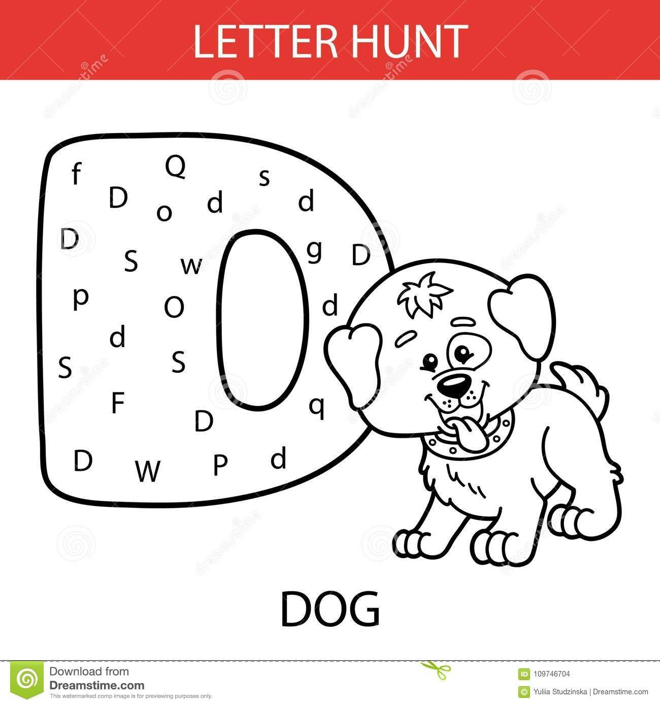 Letter Hunt Worksheet Animal Letter Hunt Dog Stock Vector Illustration Of Letter