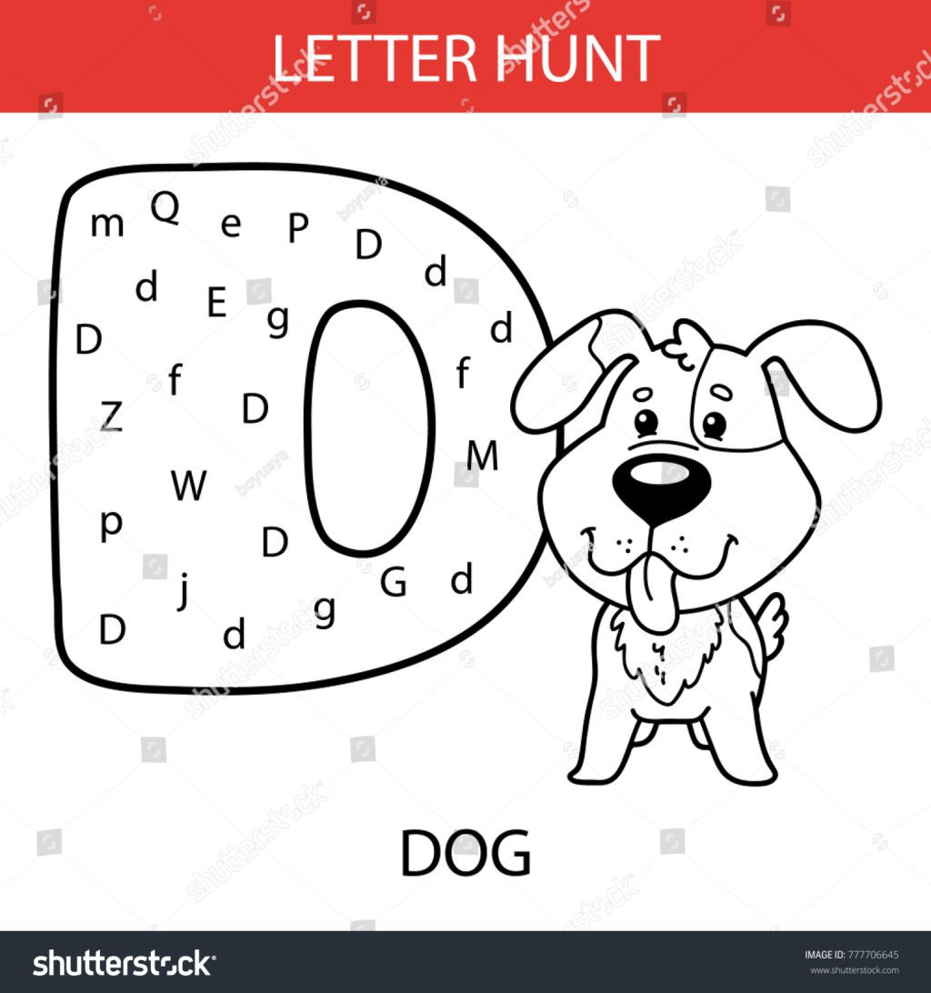 Letter Hunt Worksheet Worksheet Stock Vector Illustration Ntable Kids Alphabet