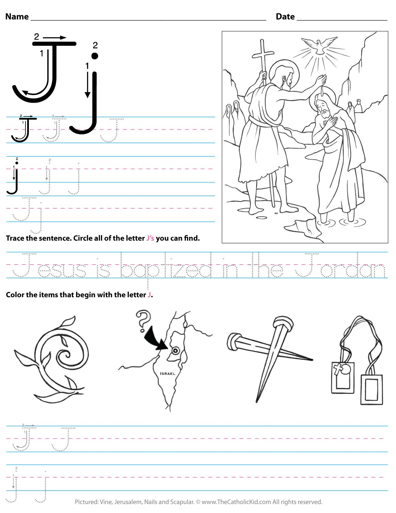 catholic alphabet letter j worksheet preschool kindergarten cnt mls