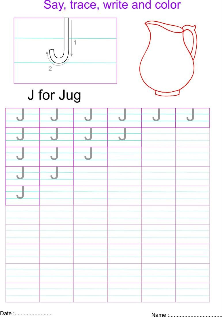 Letter J Worksheets English Capital Letter J Worksheet