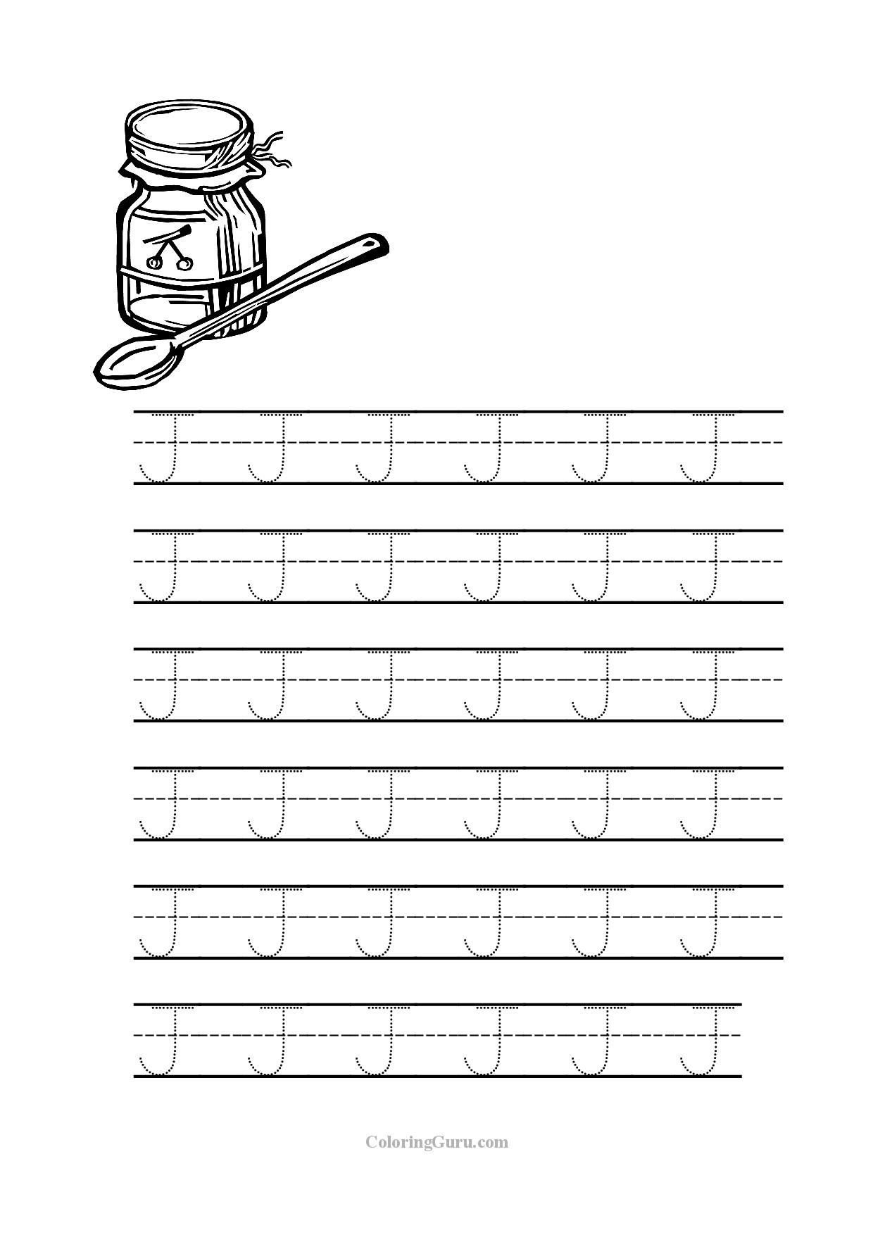 Letter J Worksheets Free Printable Tracing Letter J Worksheets for Preschool