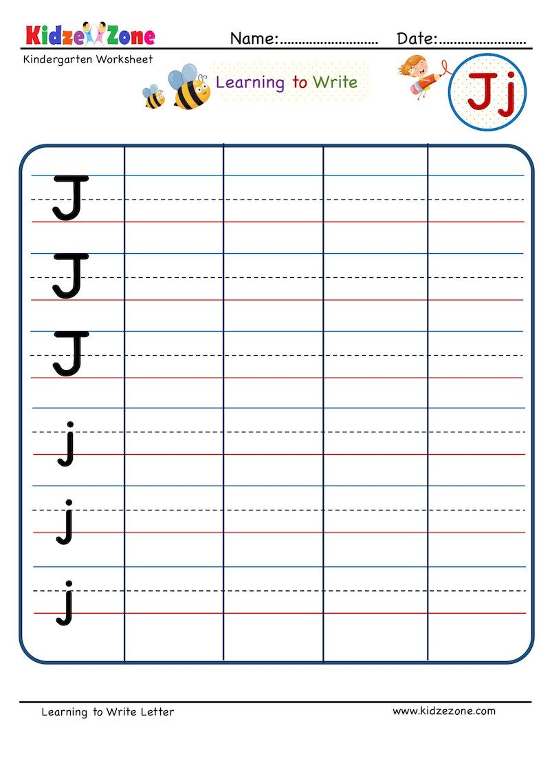 Kindergarten Letter Writing in Lines Worksheet Letter J