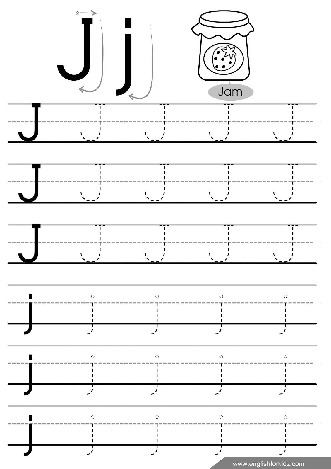 letter j tracing worksheet