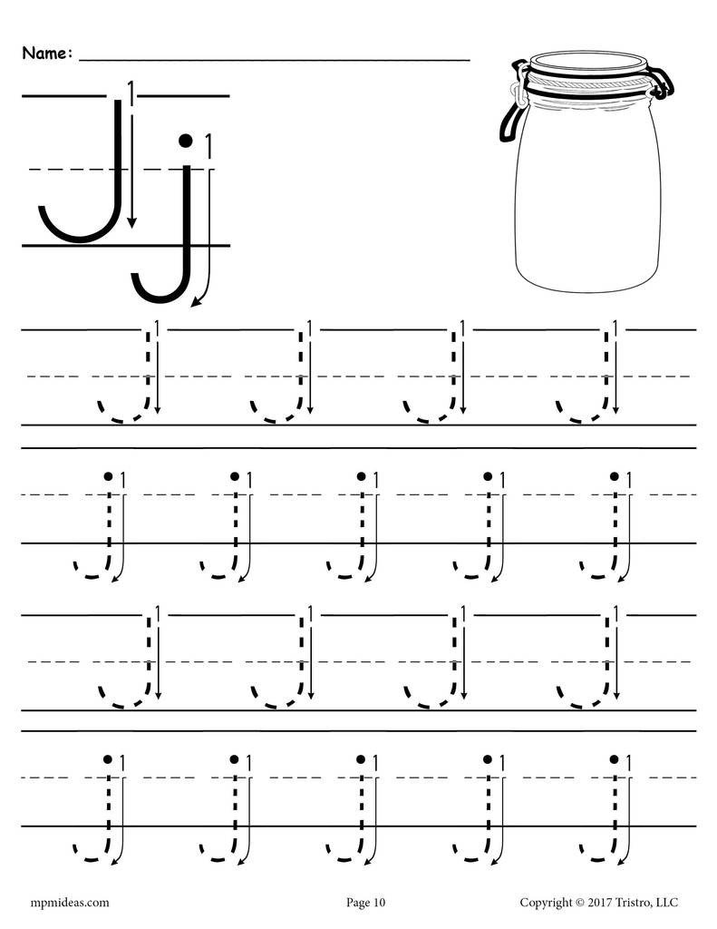 Printable Letter J Tracing Worksheet With Number and Arrow Guides