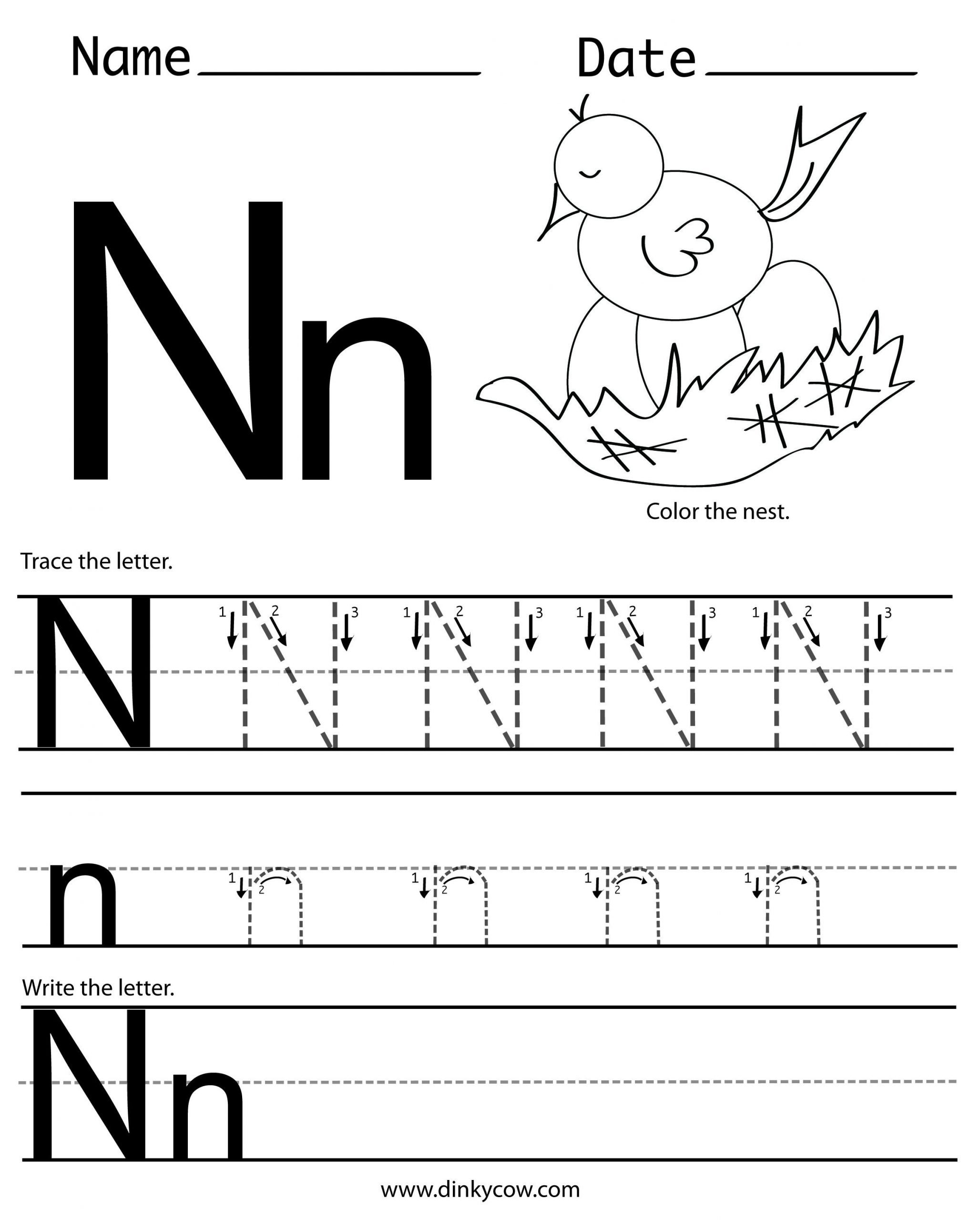 Letter N Worksheets for Preschool N Free Handwriting Worksheet Print 2 400—2 988 Pixels