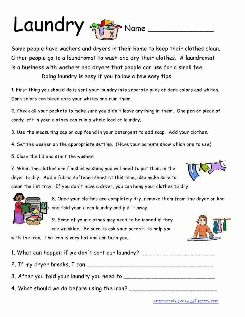 Life Skills Worksheets Pdf Laundry