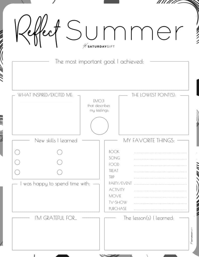 Life Skills Worksheets Pdf Review Your Life with the Summer Reflection Worksheet Free