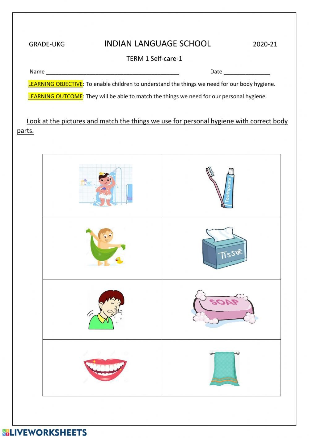Life Skills Worksheets Pdf Self Care 1 Interactive Worksheet