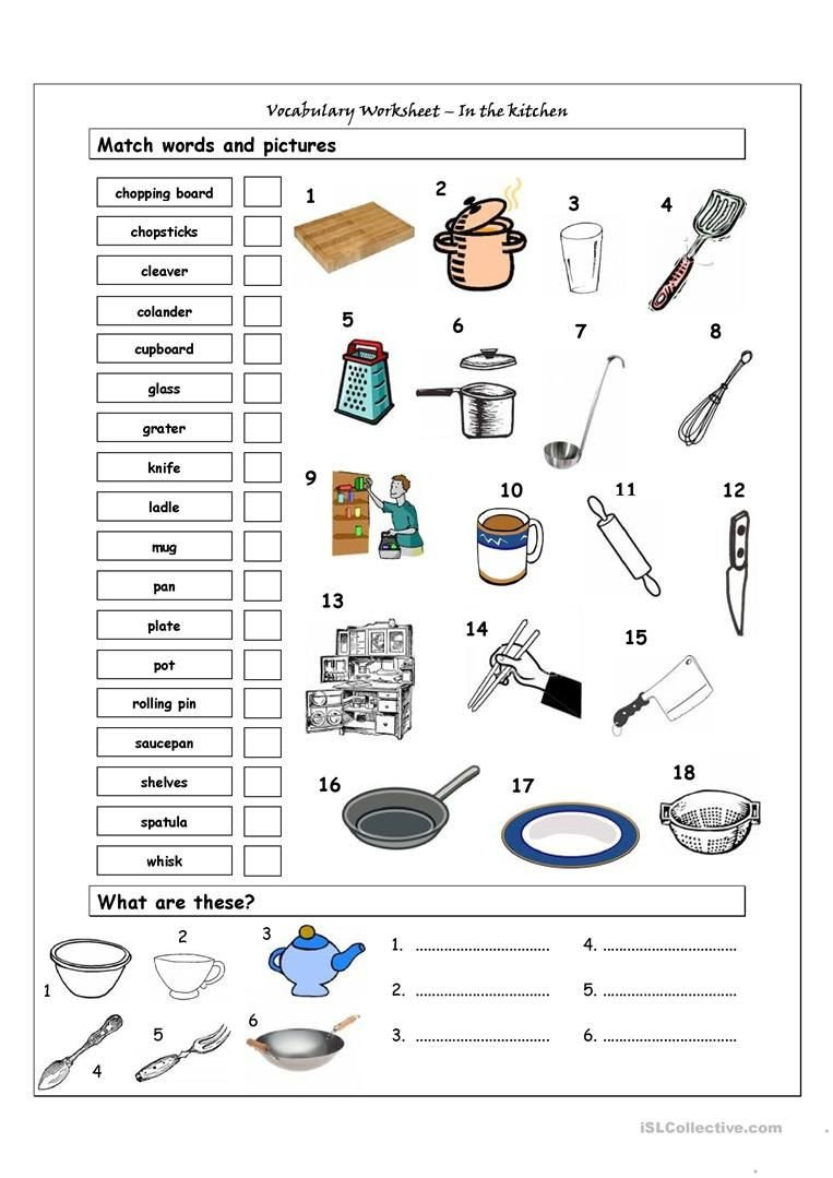 Life Skills Worksheets Pdf Vocabulary Matching Worksheet In the Kitchen