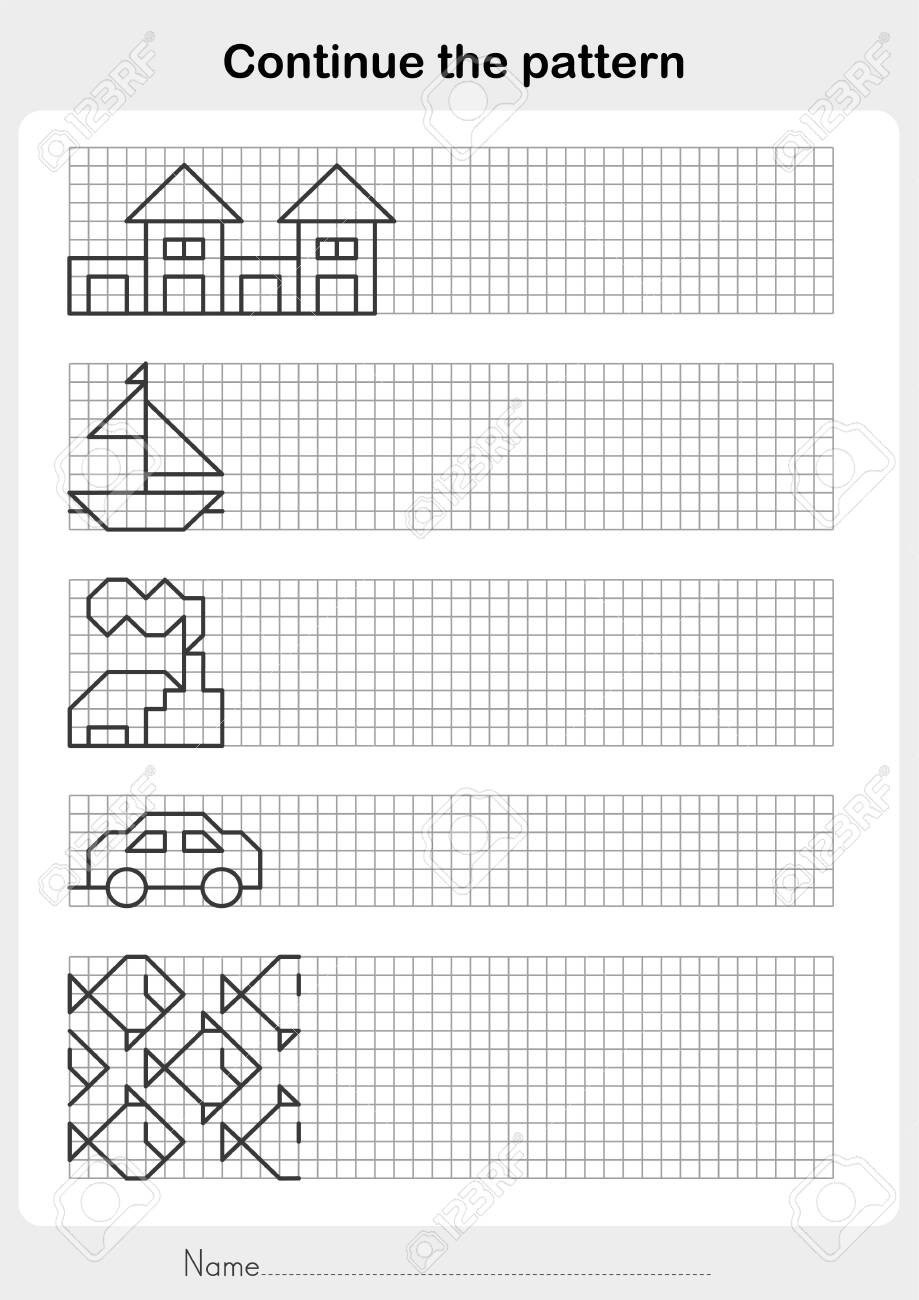 Line Pattern Worksheets Draw the Line Continue the Pattern Worksheet for Education