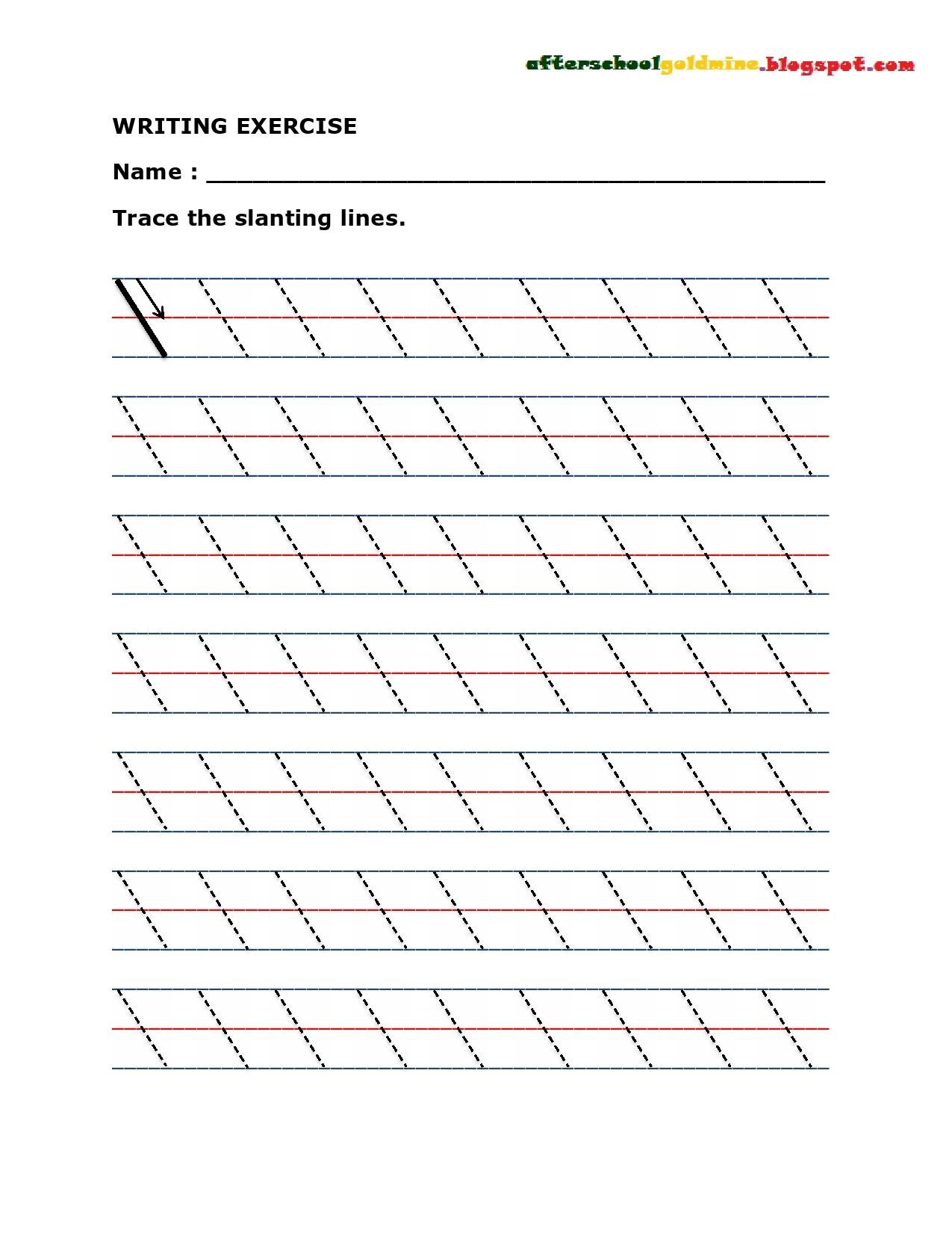 Line Pattern Worksheets Practice Writing Slanting or Diagonal Lines
