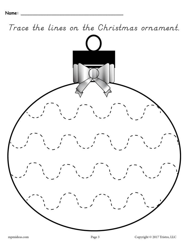 Line Pattern Worksheets Printable Christmas ornament Line Tracing Worksheets
