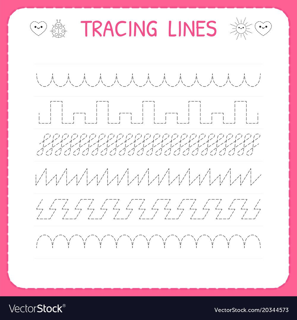 Line Pattern Worksheets Trace Line Worksheet for Kids Trace the Pattern