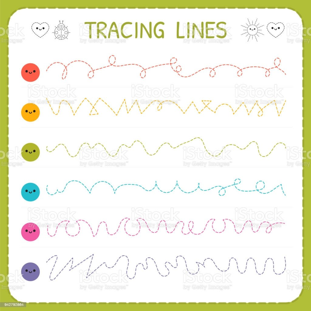 Line Pattern Worksheets Tracing Lines Basic Writing Worksheet for Kids Working Pages for Children Trace the Pattern Preschool Kindergarten Worksheets Stock Illustration