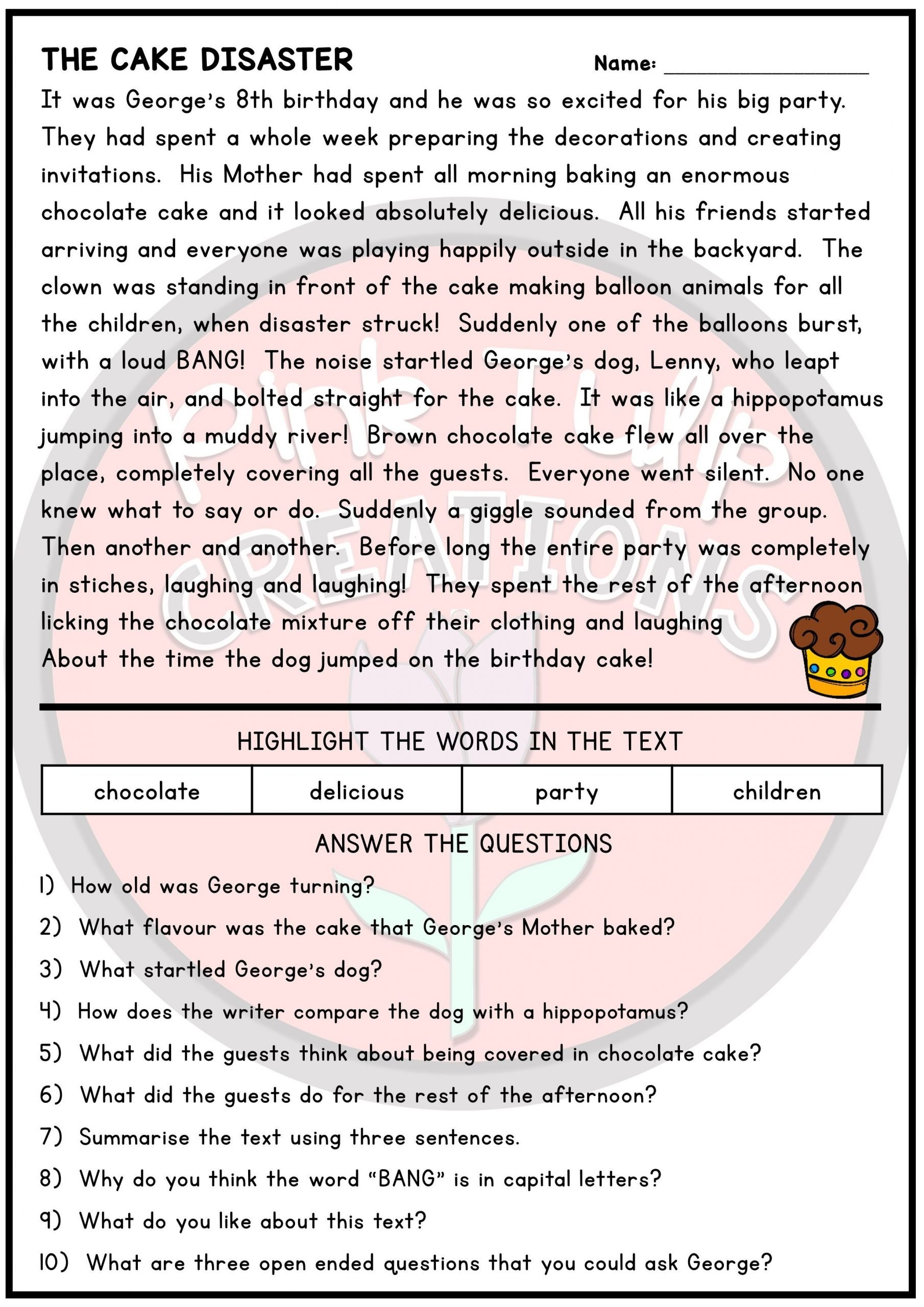Literal and Nonliteral Worksheets 10 Page Reading Prehension Worksheet Pack with Answers
