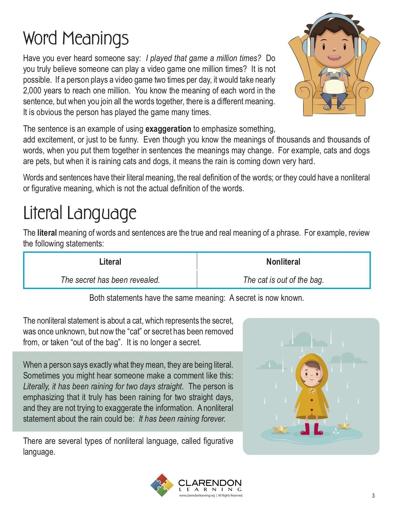 Literal and Nonliteral Worksheets Literal and Nonliteral Language