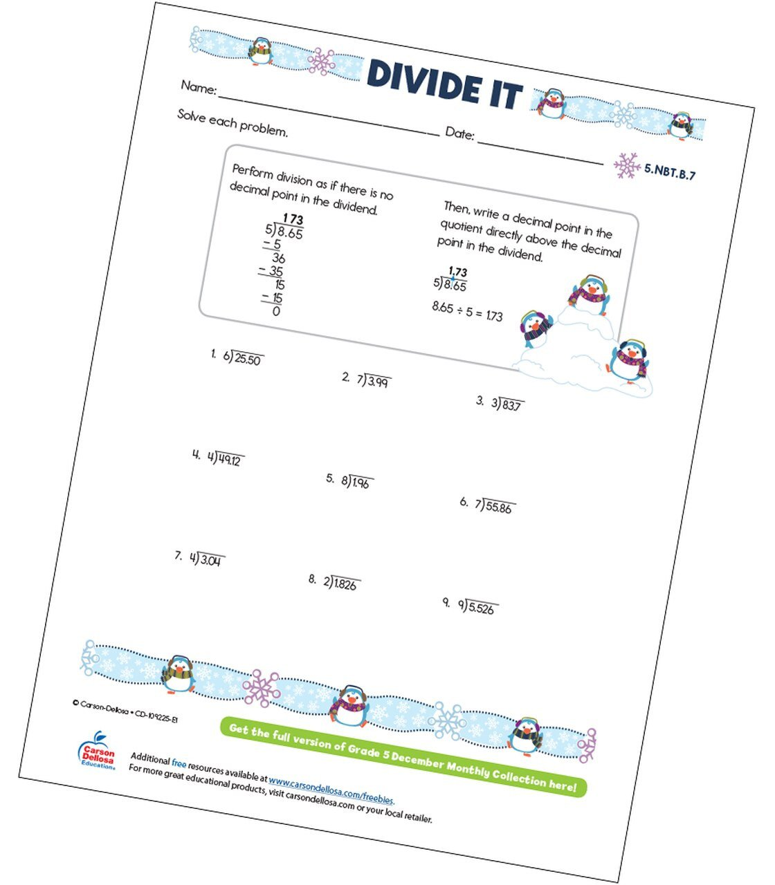 Long Division with Decimals Worksheets Divide It Free Printable