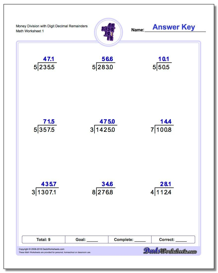 Long Division with Decimals Worksheets Division with Decimal Results