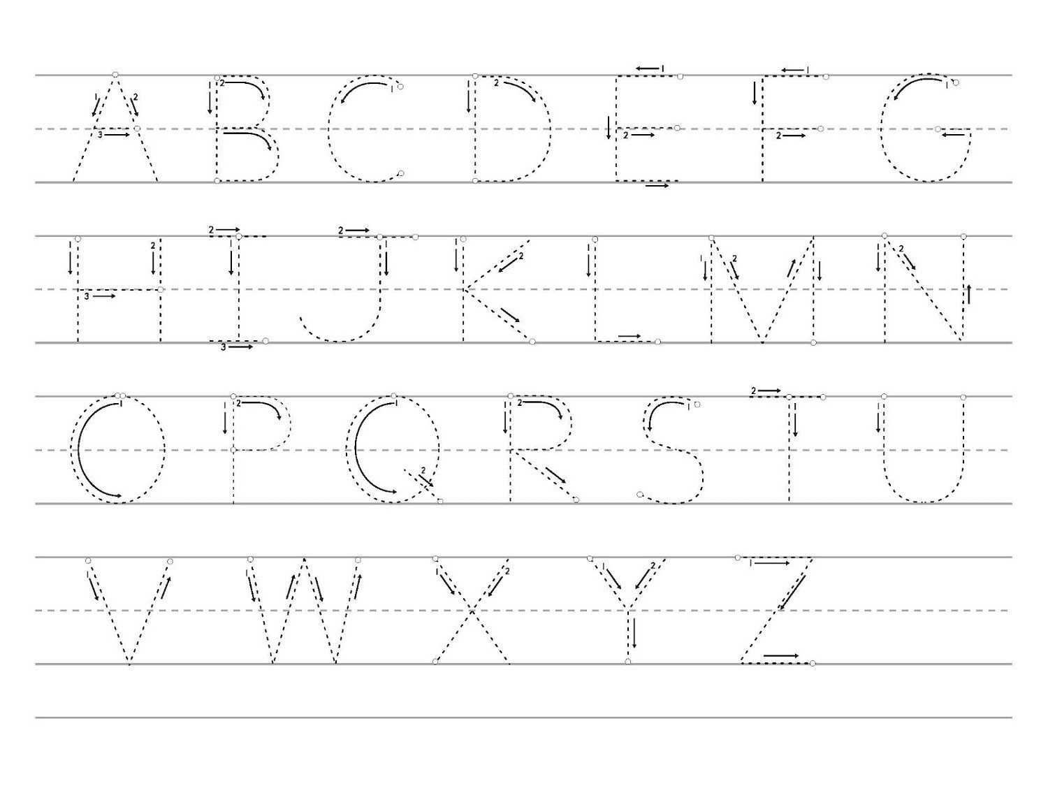 dotted alphabet practiceheets free pdf printable lower case lowercase
