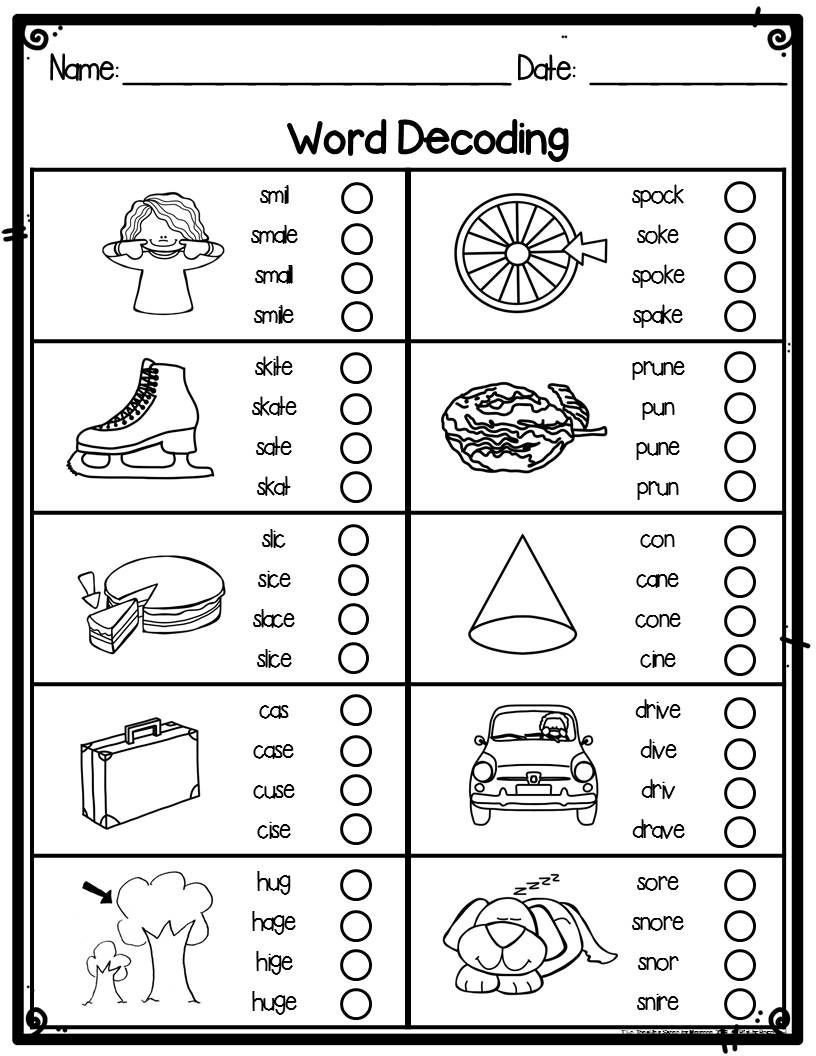 Magic E Worksheets Free Silent or Magic E Word Decoding Practice Worksheets or
