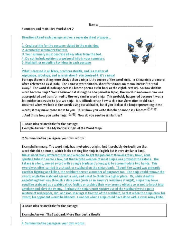 Main Idea Worksheets High School Summary and Main Idea Worksheet 1 Promotiontablecovers