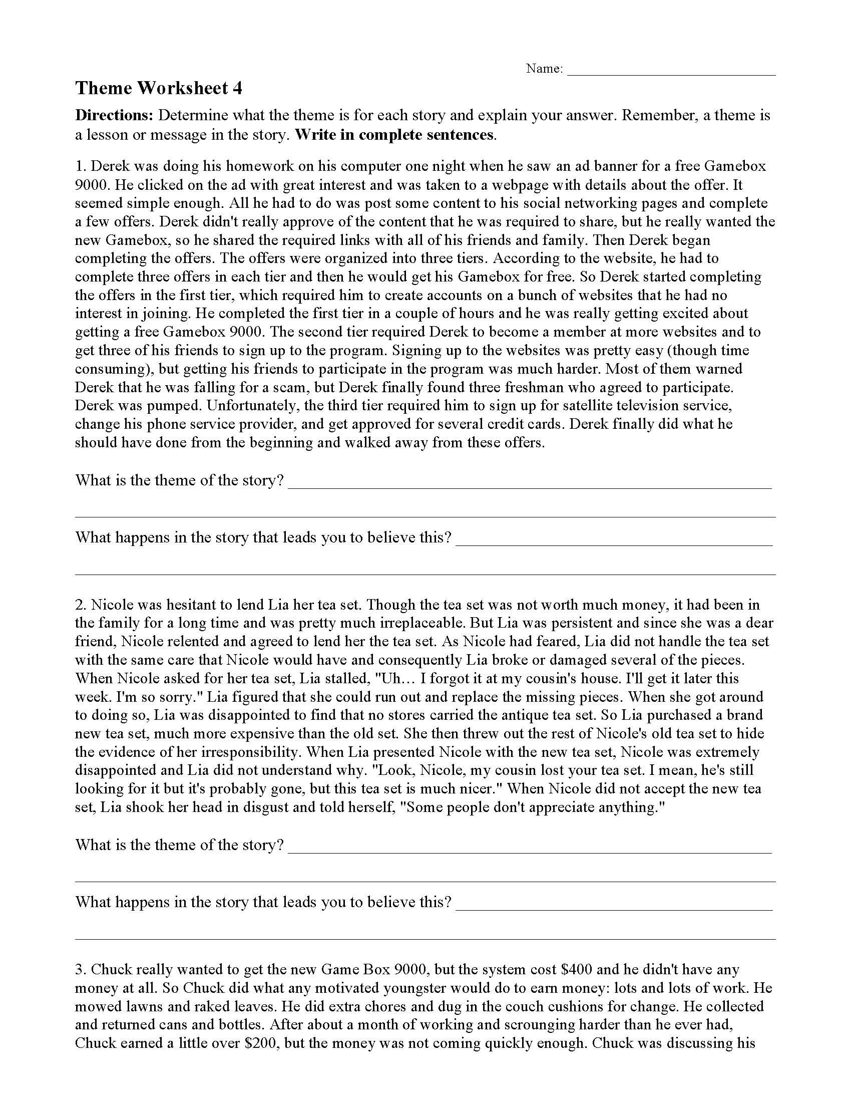 Main Idea Worksheets High School theme or Author S Message Worksheets