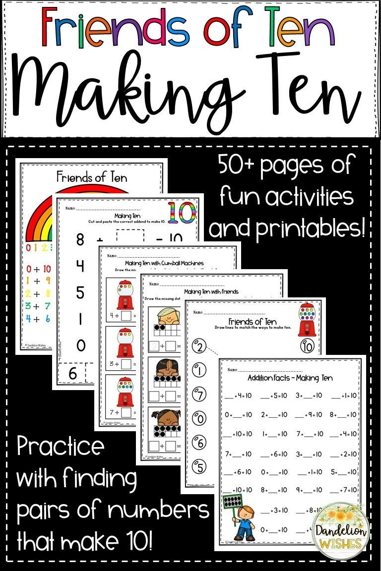 Making Friends Worksheets Kindergarten Friends Of Ten Making Ten