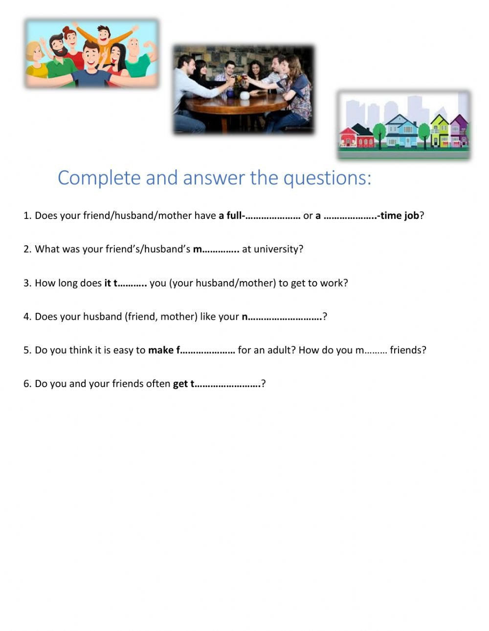 Making Friends Worksheets Making Friends A Gap Fill Questions Interactive Worksheet