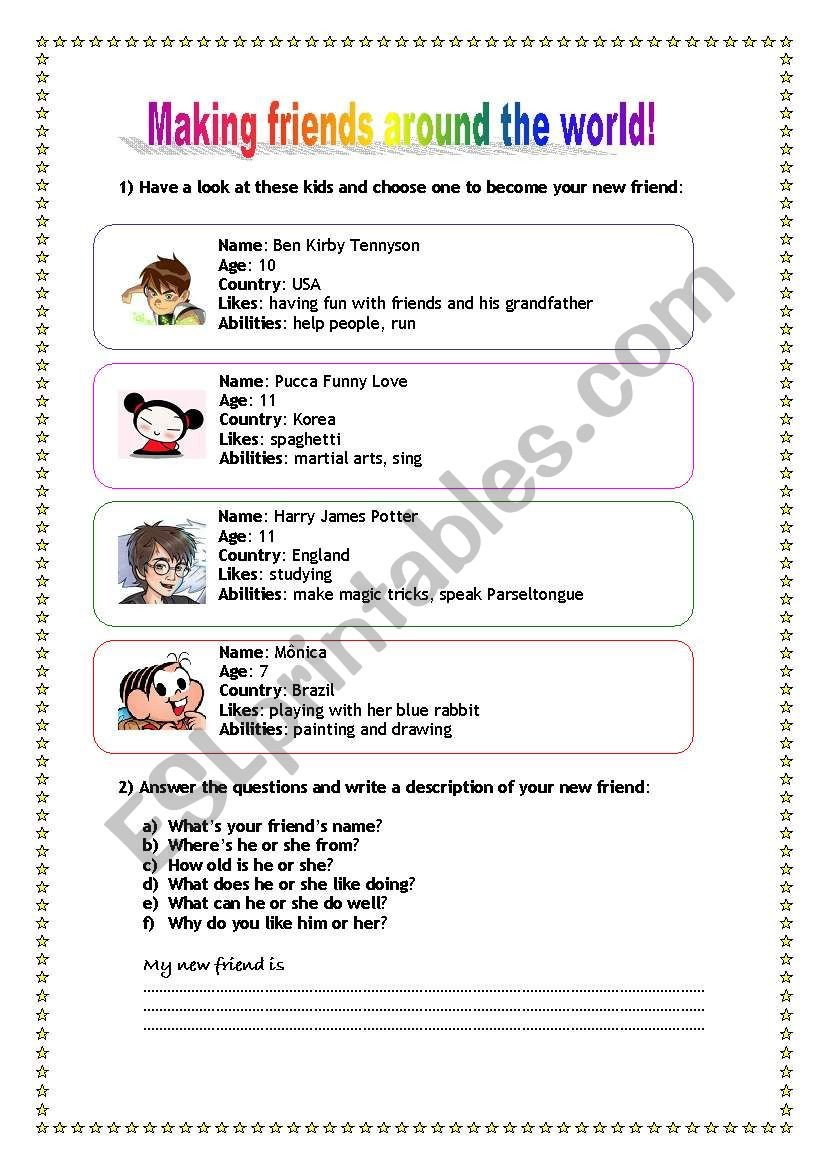 Making Friends Worksheets Making Friends Around the World Esl Worksheet by Dianasuzuki