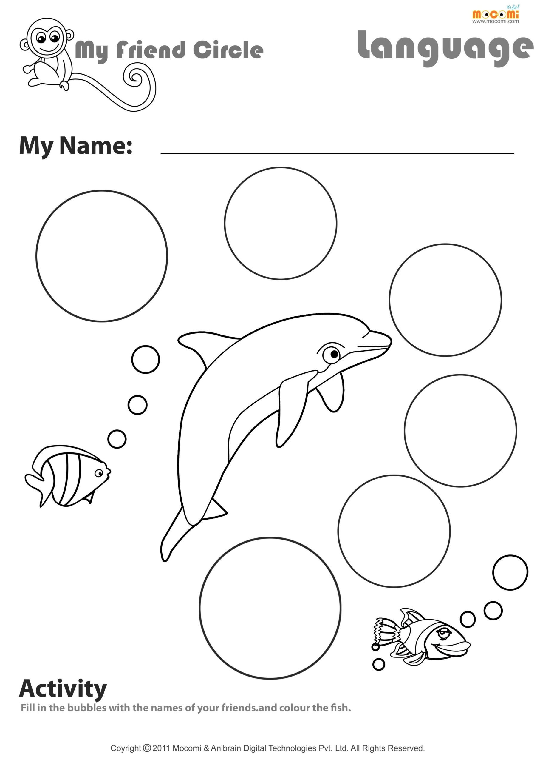 Making Friends Worksheets My Friend Circle English Worksheet for Kids with