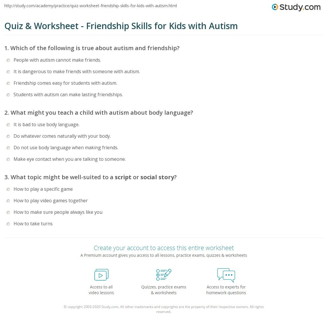 quiz worksheet friendship skills for kids with autism
