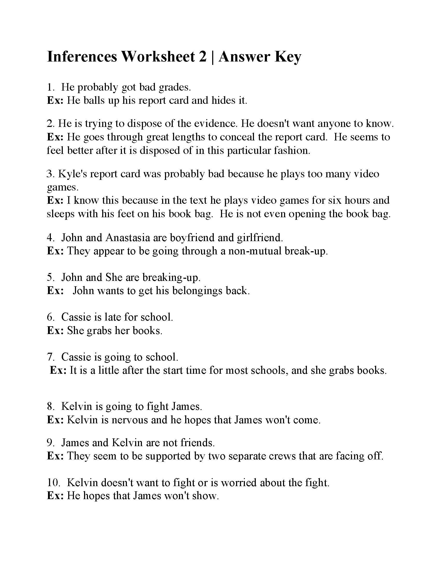 Making Inferences Worksheet Pdf Inferences Worksheet 2