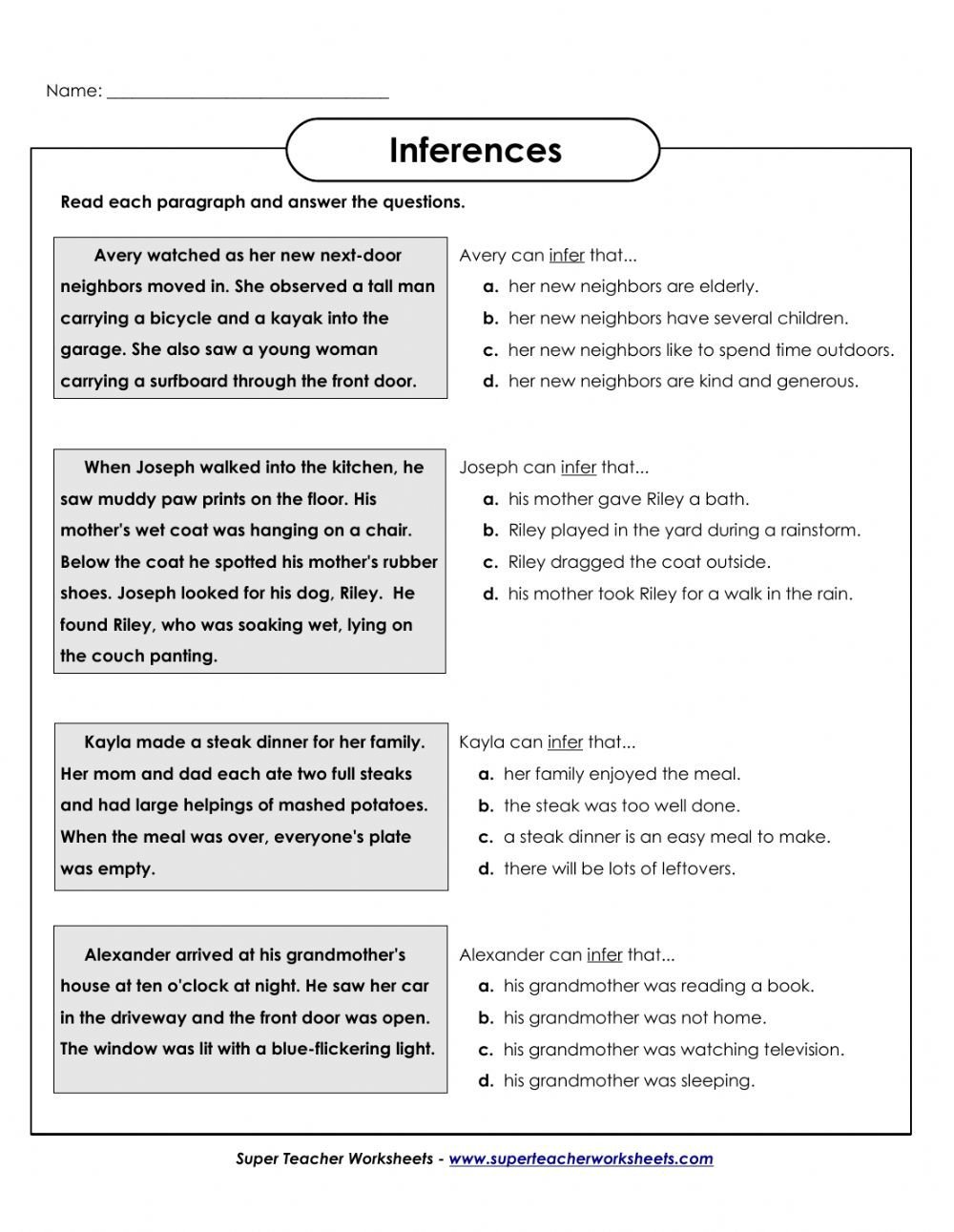 Making Inferences Worksheet Pdf Making Inferences Interactive Worksheet